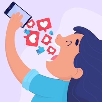 Een persoon die verslaafd is aan sociale media-illustratie