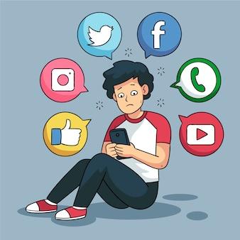 Een persoon die verslaafd is aan sociale media
