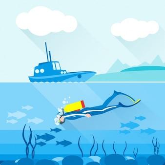 Een persoon duiken