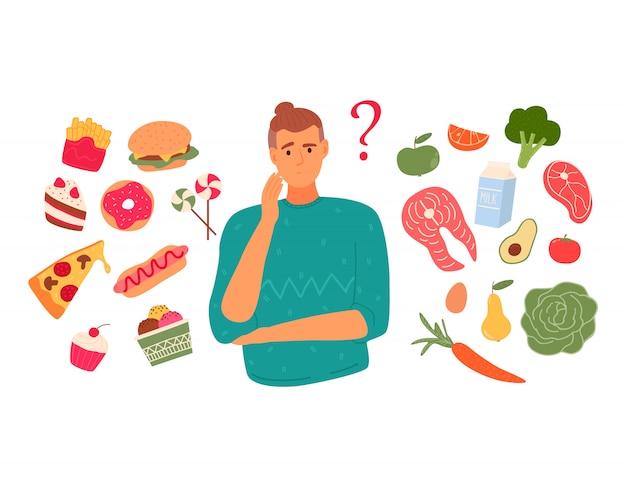Een persoon kiest tussen fastfood en gezond, levendig voedsel. dieet concept.