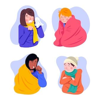 Een persoon met een geïllustreerde koude set