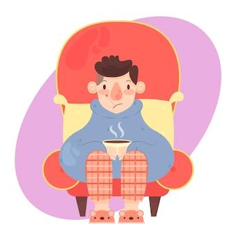 Een persoon met een geïllustreerde verkoudheid