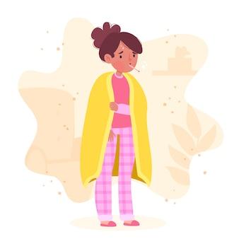 Een persoon met een koud ontwerp