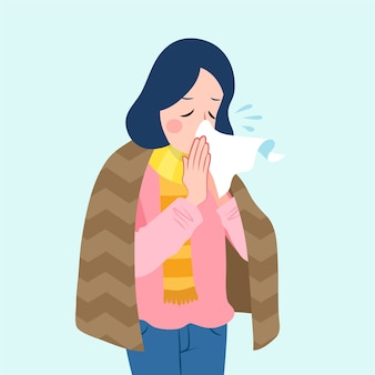 Een persoon met een koude illustratie