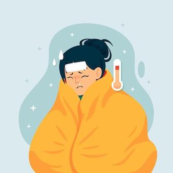 Een persoon met een verkoudheid
