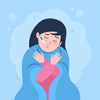 Een persoon met koorts