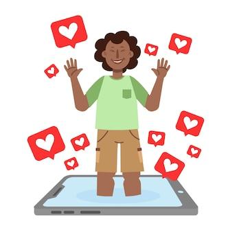 Een persoon verslaafd aan sociale media illustratie concept