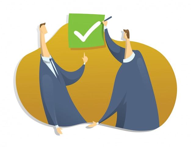 Een persoon zet een vinkje in het selectievakje. het symbool van de toestemming. concept illustratie, op wit.