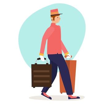 Een piccolo in een volledig uniform draagt een koffer van een hotelbezoeker