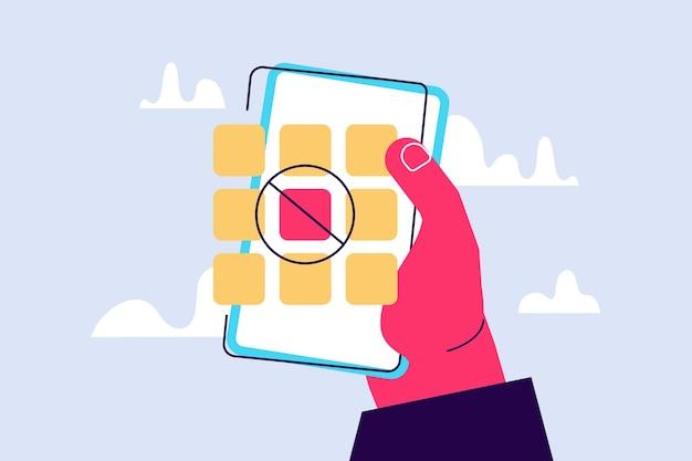 Een pictogram van een verboden mobiele applicatie bedreigt de informatiebeveiliging