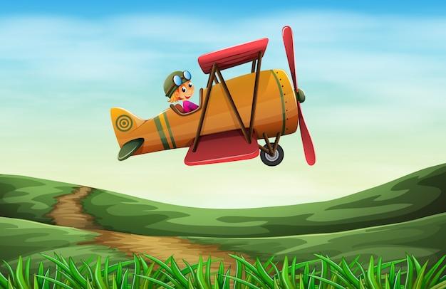 Een piloot die een propeller vliegt