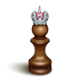 Een pion met een kroon op zijn hoofd. het concept van succes, persoonlijke groei, verborgen talenten.