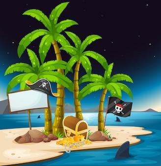 Een pirateneiland met een leeg uithangbord