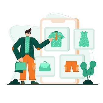 Een platte afbeelding van een doek winkelen Premium Vector