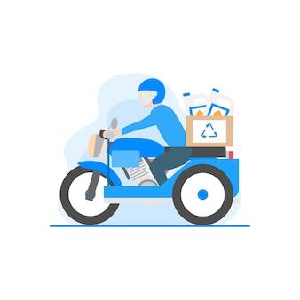 Een platte illustratie van een persoon die op een gemotoriseerde riksja rijdt terwijl hij recycleproducten vervoert