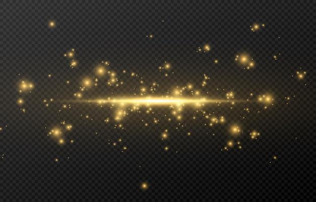 Een platte magische lichtflits. gouden gloed.
