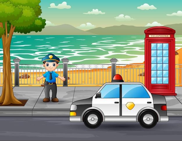 Een politieagent belast met het regelen van het verkeer op de weg