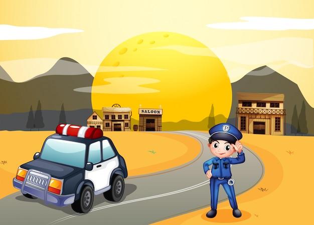 Een politieman op straat