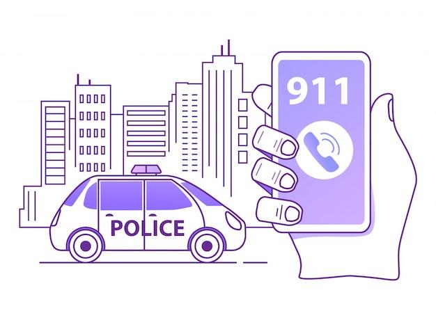 Een politiepatrouille bellen. overzicht hand houdt smartphone. mobiele noodapplicatie.