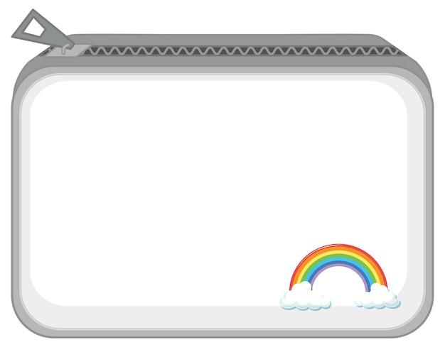 Een portemonnee met rits en regenboogpatroon
