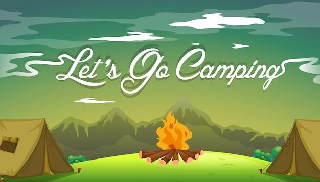 Een poster met een camping