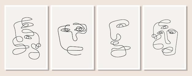 Een poster met een in één lijn getekende man in een minimalistische elegante stijl. abstract gezicht van vrouw en man. set van silhouet van personen. vectorillustratie van achtergrondontwerp.