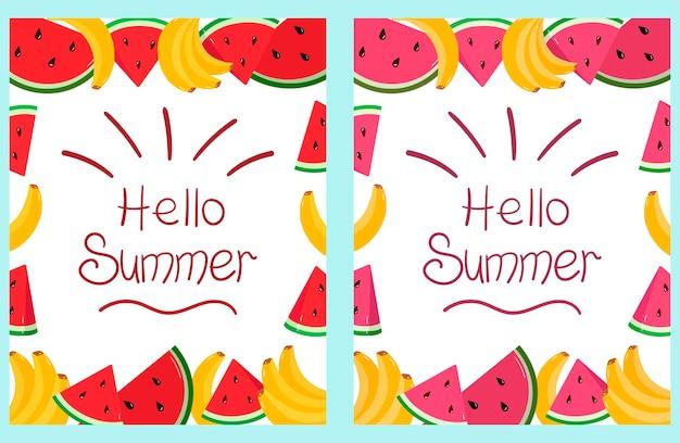 Een poster met tropisch fruit, bananen en watermeloenen en het opschrift hallo zomer