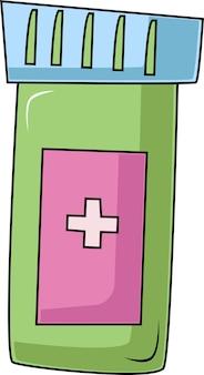 Een pot met een medicijn, met een deksel en een etiket. pillen in een pot. een onderwerp voor een arts.