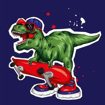 Een prachtige dinosaurus in een pet en met een skateboard, skater.