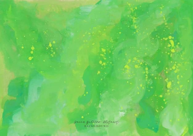 Een prachtige groene en gele abstracte gouache aquarel achtergrond