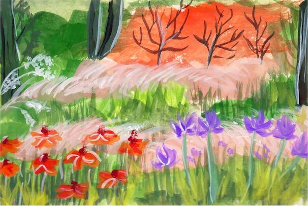 Een prachtige landschapsgouache aquarel achtergrond