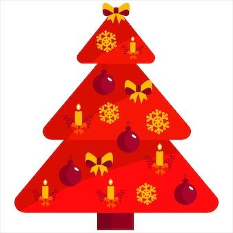 Een prachtige ongebruikelijke kerstboom met versieringen gemaakt van sneeuwvlokken, strikken speelgoed