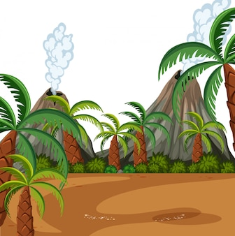 Een prehistorische scène uit de natuur