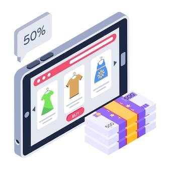 Een premium isometrisch icoon van online afgeprijsde producten