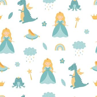 Een prinses met een draak naadloos kinderpatroon
