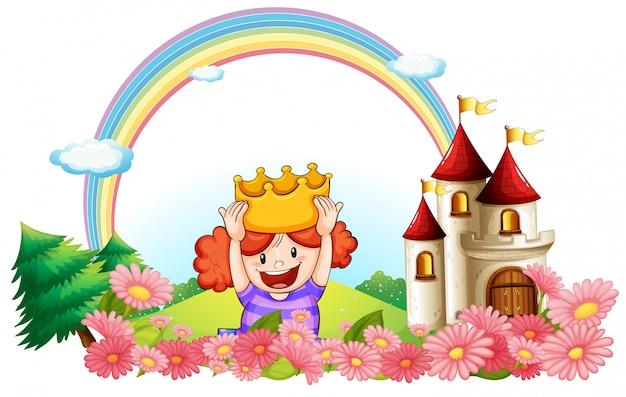 Een prinses met een kasteel aan de achterkant