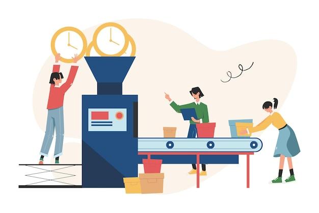 Een productielijn met automatisering van werknemers en slimme gebruikersinterface