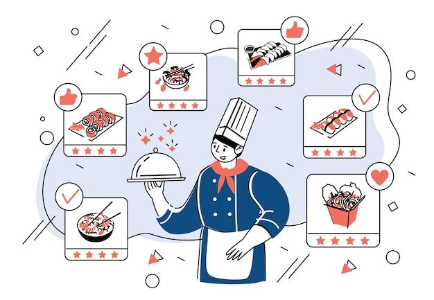Een professionele chef-kok die het gerecht in zijn hand houdt
