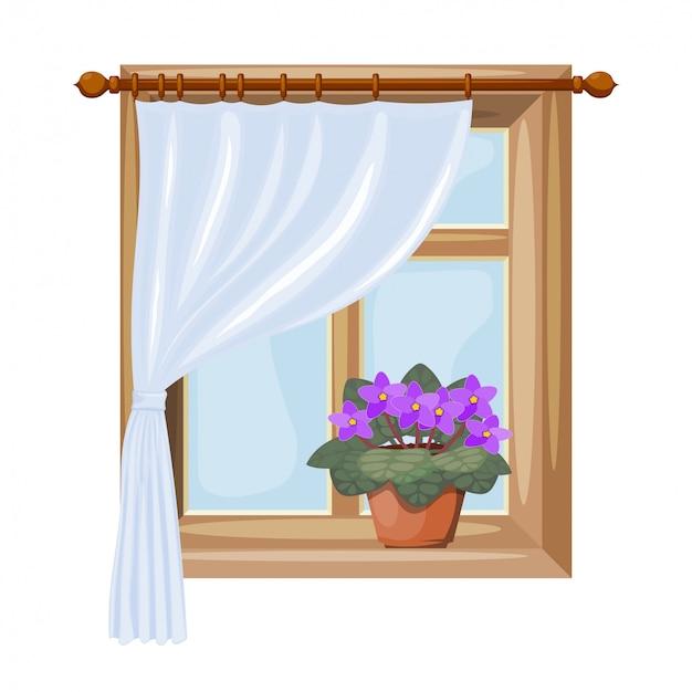 Een raam met gordijnen