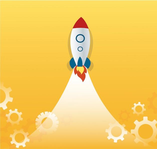 Een raket en versnellingen, opstarten bedrijfsconcept