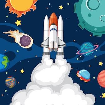 Een raket in de ruimte
