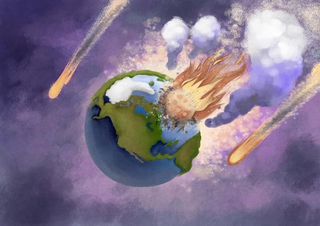 Een ramp waarbij een planeet op de aarde botst