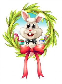 Een rand met een konijn en een groot lint
