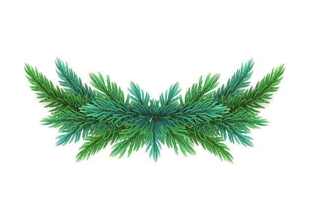 Een realistische, gedetailleerde nieuwjaarskrans van pijnboomtakken om ansichtkaarten te maken