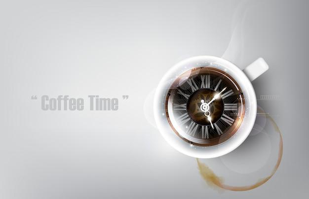 Een realistische kop zwarte koffie en koffiekopvlek met het concept van de koffieklok, illustratie