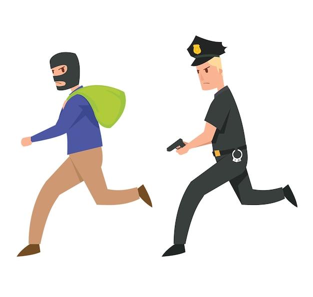 Een rechtshandhaving achtervolgt een criminele verdachte