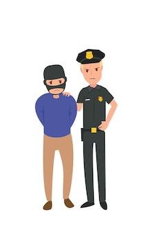 Een rechtshandhaving poseert met een criminele verdachte