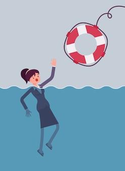 Een reddingsboei geven voor een verdrinkende zakenvrouw