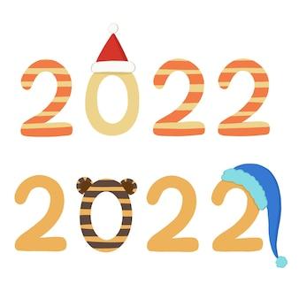 Een reeks afbeeldingen met de nieuwjaarsdatum 2022 in de stijl van het symbool van het jaar