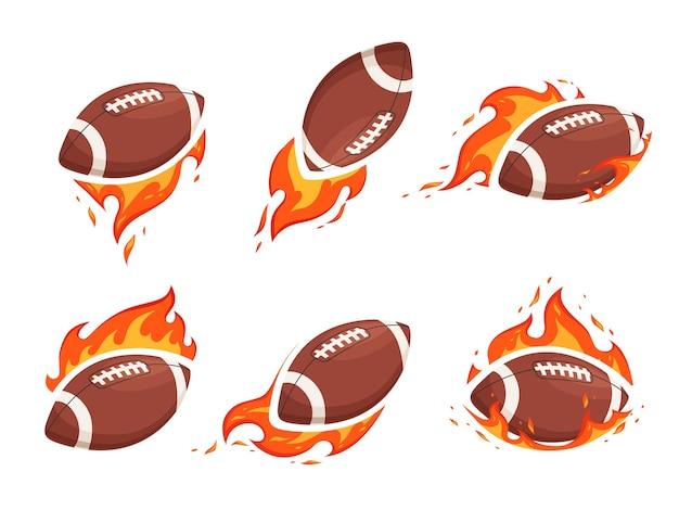 Een reeks afbeeldingen van ballen voor amerikaans voetbal en rugby in brand. het concept van hete confrontatie en brandende worpen. geïsoleerd op een witte achtergrond.